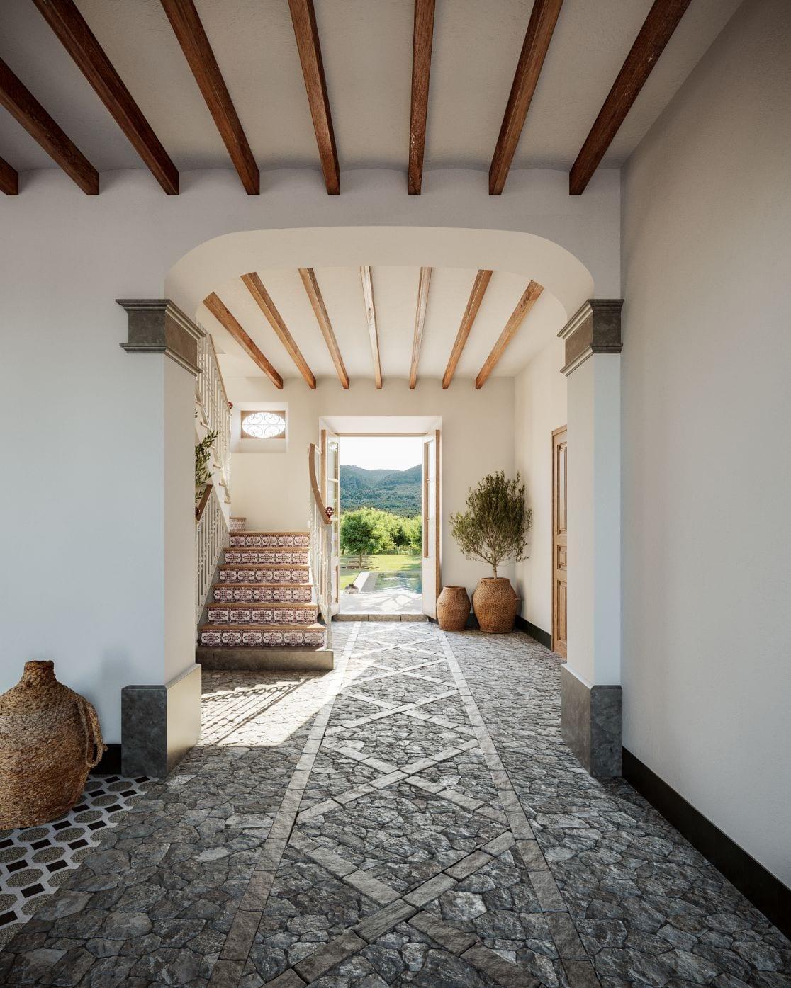 Canoneta Townhouse Stone Hallway Mallorca